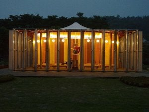 The Takatori temple, designed by Shigeru Ban.