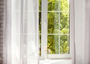 Transparent white curtains.