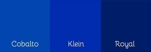 Three shades of blue, including Klein blue.