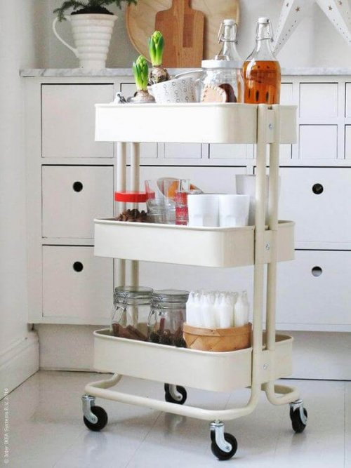 A utility cart in the kitchen.
