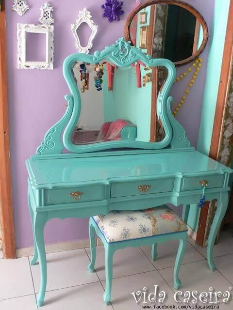 An old vanity in a dressing room.