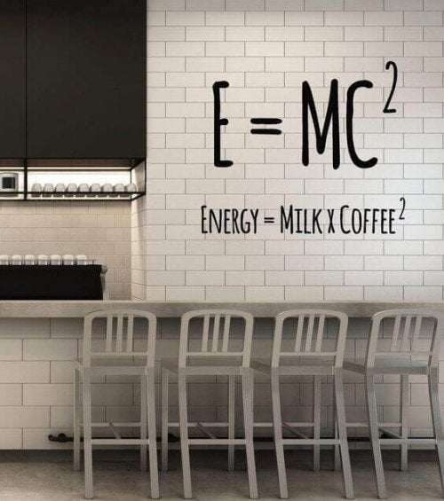 A wall sticker in the kitchen.