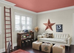 Create striking color combinations for the ceiling and walls.