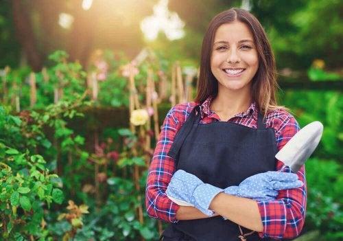 A woman gardening.