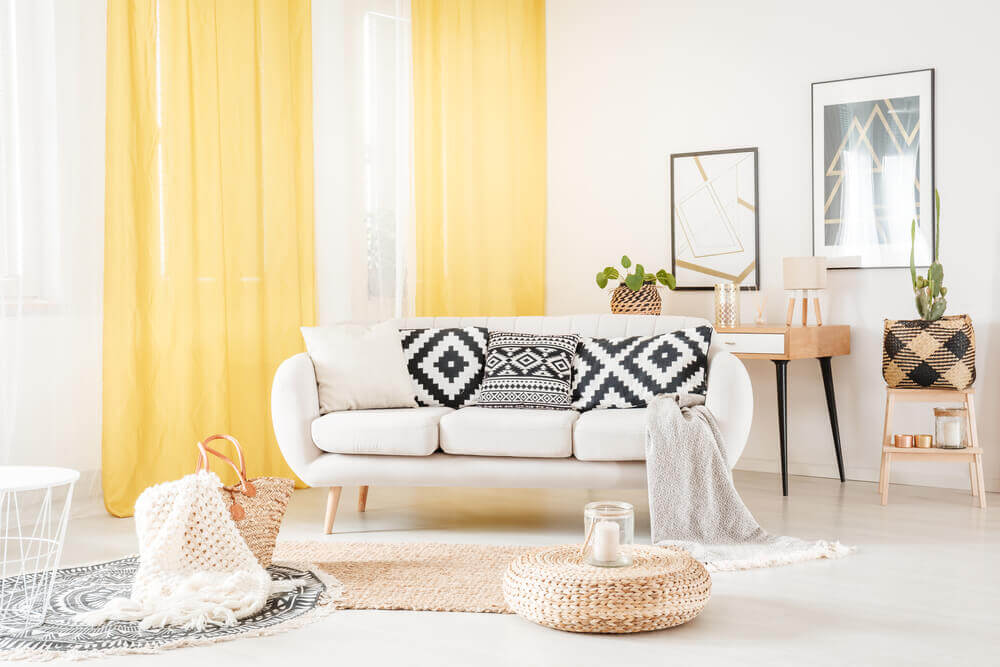 Yellow is a great choice for summer curtains.