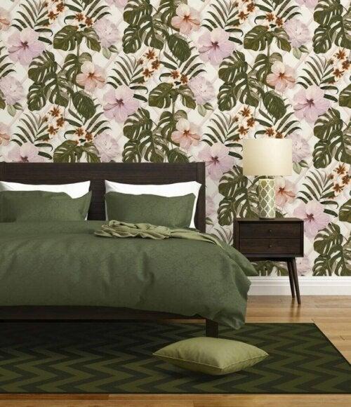 A bedroom in green tones.
