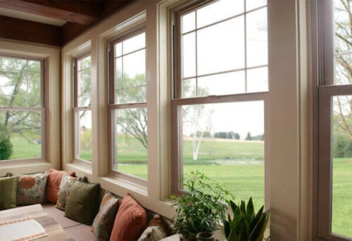 A bright room with several windows.