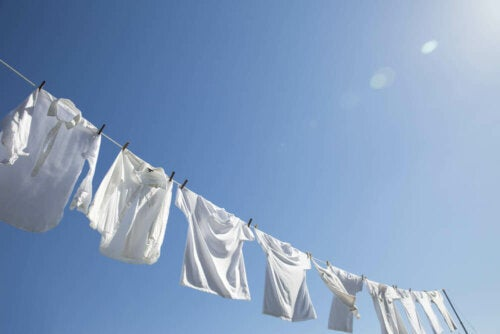 A clothesline full of white shirts.