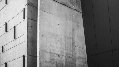 A concrete building.