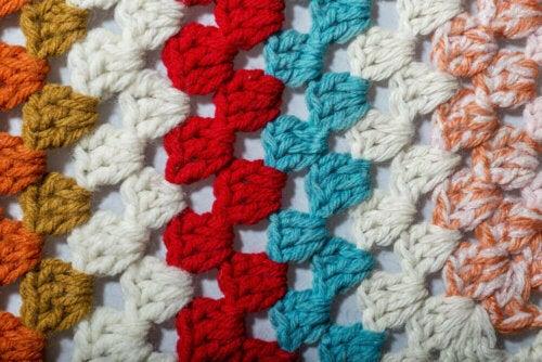 A crochet stitch up close.