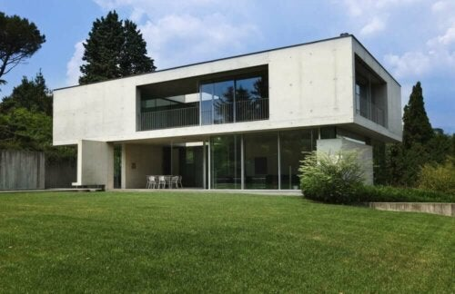 A house made with biological concrete.