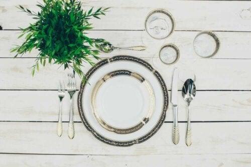 A proper table setting.