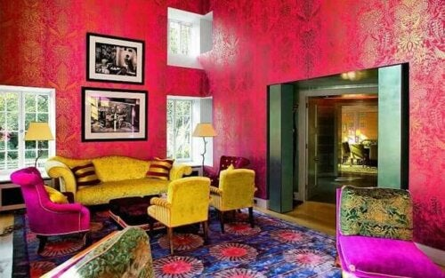 A room in a Kitsch style, well known for its color overload.