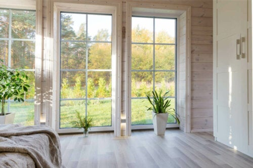 A room with large windows.