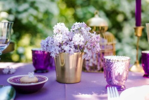 A setting with floral arrangements.