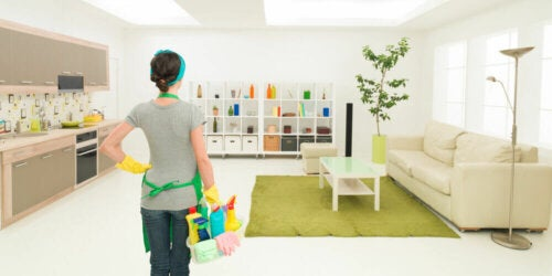 A woman about to clean a room.