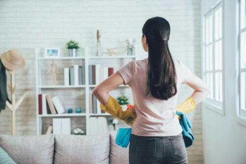 A woman with the motivation to clean her house.