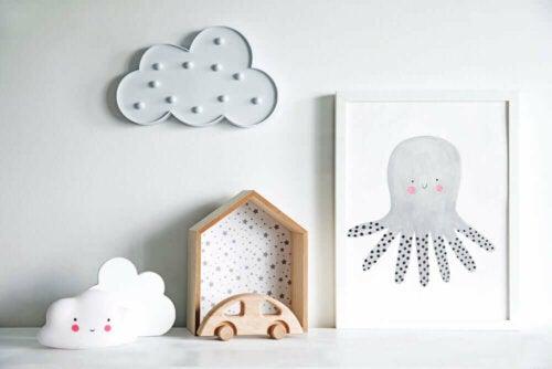 Decor accessories for a nursery.