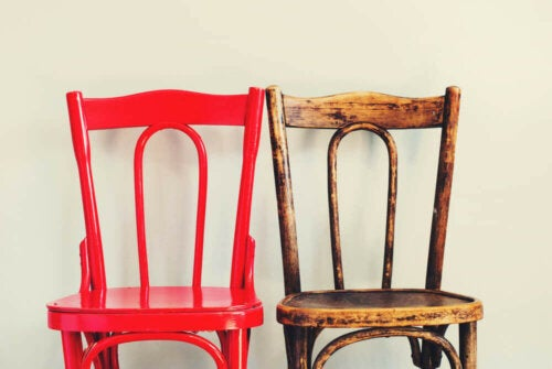 Restoring furniture by painting in a different color.