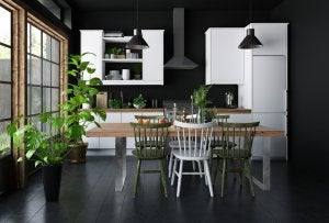 Black should be used in moderation in home decoration because it lacks brightness.