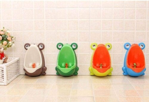 You can find urinals for children to help them learn.
