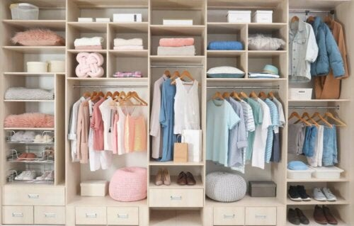 A clean and organized closet.