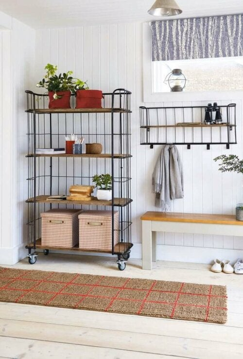One of the uses for benches can be in your entryway.