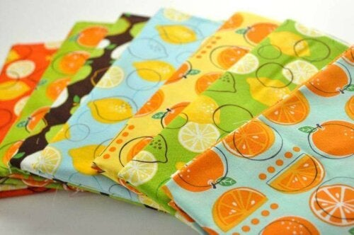 Tablecloths with fruit prints.