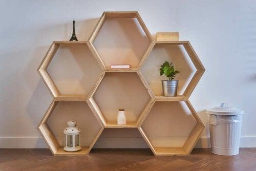 Some original shelves are made with geometric shapes.