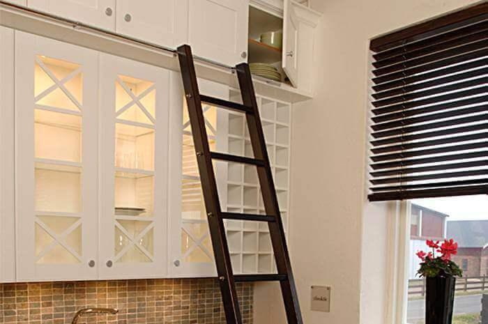 A ladder to reach higher shelves.