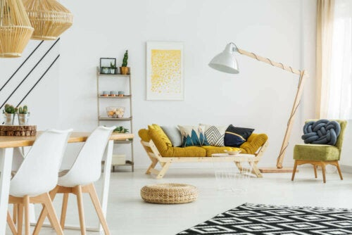 A living room with a yellow theme.