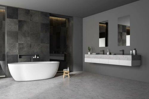 Bathroom with a micro cement floor