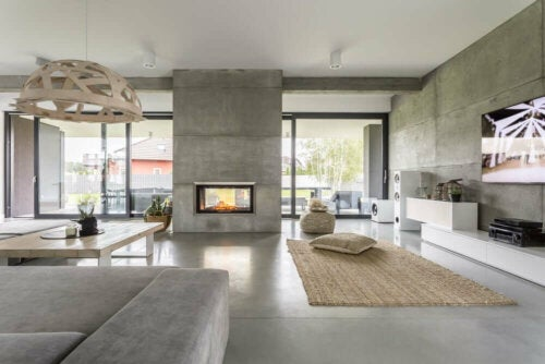 Large living space with a micro cement floor