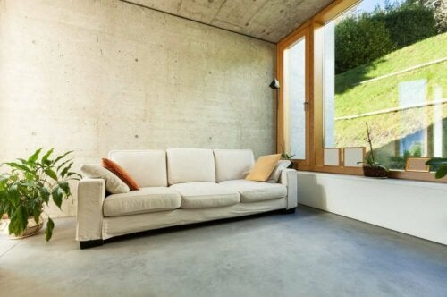 Large room with micro cement walls and floors