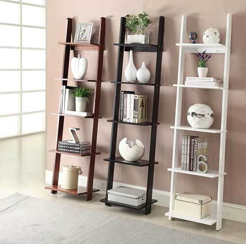 One option for original shelves is a recycled ladder.
