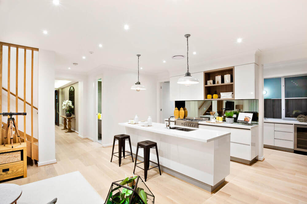 An open-plan kitchen and living room.