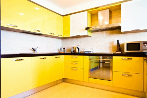 A yellow kitchen.