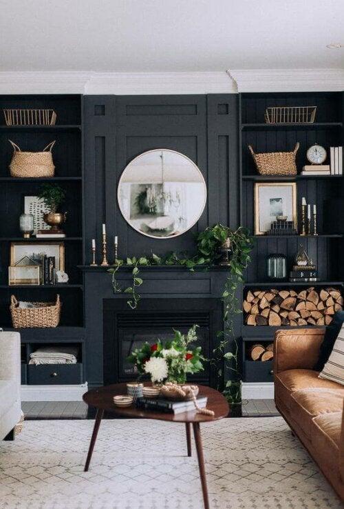 A black fireplace.