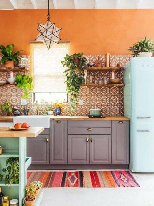 A colorful kitchen impacts our mood.