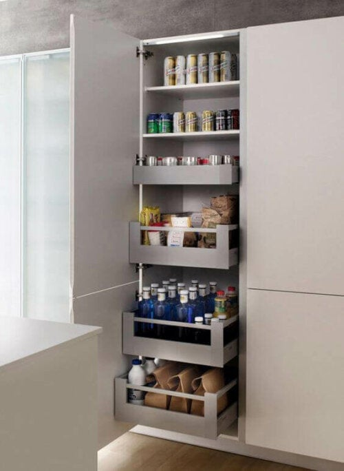 A pantry with sliding shelves.