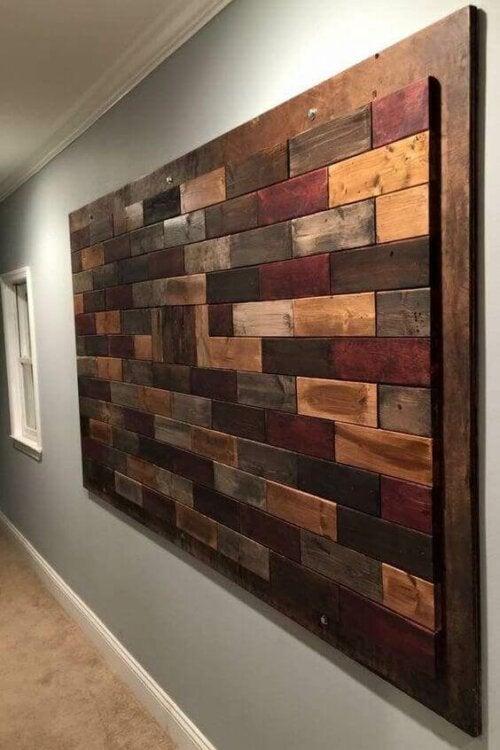 A wooden piece of art.