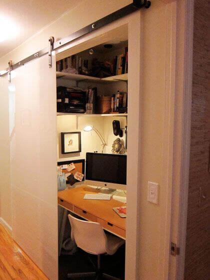 An office inside a closet.