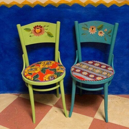 Two wooden house chairs.