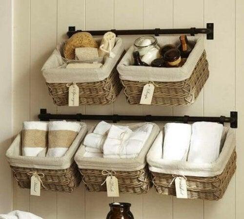 In-style storage: five wicker baskets storing bathroom essentials.