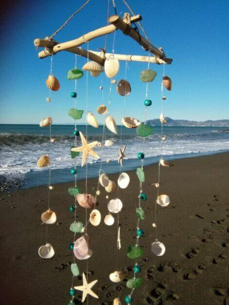 Squared wind chime made with sea shells and beach crystals