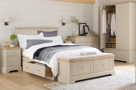 Using a chest at the foot of the bed to decorate a master bedroom with functional pieces of furniture