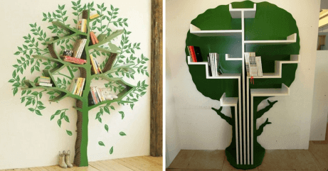 Two examples of book trees that make wonderful decorations in a children's library