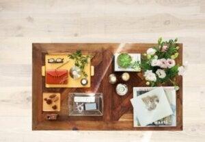 Coffee table organizer trays.