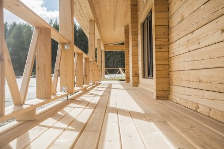 Simple wooden porches durint the winter season