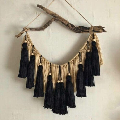 A black and gold tassel decoration.